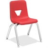 "Lorell 12"" Seat-height Stacking Student Chair - Four-legged Base - Red - Polypropylene - 14.8"" Width x 14"" Depth x 22"" Height"