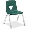 "Lorell 12"" Seat-height Stacking Student Chair - Four-legged Base - Green - Polypropylene - 14.8"" Width x 14"" Depth x 22"" Height"