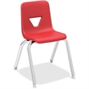 "Lorell 14"" Seat-height Stacking Student Chair - Four-legged Base - Red - Polypropylene - 14.8"" Width x 16.5"" Depth x 25"" Height"