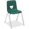 "Lorell 14"" Seat-height Stacking Student Chair - Four-legged Base - Green - Polypropylene - 14.8"" Width x 16.5"" Depth x 25"" Height"