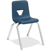"Lorell 16"" Seat-height Stacking Student Chair - Four-legged Base - Navy - Polypropylene - 16"" Width x 20.5"" Depth x 27"" Height"