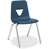 "Lorell 18"" Seat-height Stacking Student Chair - Four-legged Base - Navy - Polypropylene - 18.8"" Width x 20.5"" Depth x 30"" Height"