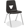 "Lorell 18"" Seat-height Stacking Student Chair - Four-legged Base - Black - Polypropylene - 18.8"" Width x 20.5"" Depth x 30"" Height"