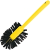 "Rubbermaid Commercial 17"" Handle Toilet Bowl Brush - 1.50"" Length Bristles - 17"" Length Handle - 18.5"" Overall Length - 12 / Carton - Plastic Handle, Synthetic Polypropylene Bristle - Brown, Yellow"