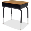 "Book Box Student Desk - Rectangle Top - 18"" Table Top Width x 24"" Table Top Depth - 30"" Height - Assembly Required - Black - Plastic"
