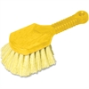 "Rubbermaid Commercial Short Handle Utility Brush - 8"" Length Handle - 6 / Carton - Plastic Block, Synthetic Trim - Yellow"