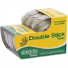 """Duck Double Stick Tape - 0.50"""" Width x 25 ft Length - Acid-free - Dispenser Included - 3 / Pack - Clear"""