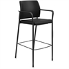 "HON Accommodate Fixed Arms Cafe Height Stool - Vinyl Black Seat - Vinyl Black Back - Steel Textured Black Frame - Four-legged Base - 23.3"" Width x 21.3"" Depth x 31.3"" Height"