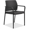 "HON Fixed Arms Fabric Guest Chair - Fabric Black Seat - Fabric Black Back - Steel Textured Black Frame - Four-legged Base - 23.3"" Width x 21.3"" Depth x 31.5"" Height"