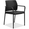"HON Accommodate Fixed Arms Guest Chair - Fabric Black Seat - Fabric Black Back - Steel Textured Black Frame - Four-legged Base - 23.5"" Width x 22.3"" Depth x 31.5"" Height"
