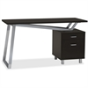 "Mayline Laminate 2-Drawer Pedestal V-desk - Pedestal Base - 2 Drawers - 1"" Table Top Thickness - 30"" Height x 24"" Width x 55"" Depth - Assembly Required - Black, Laminated, Textured"
