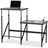 "Safco Bi-Level Stand/Sit Desk - Rectangle Top - 57.50"" Table Top Width x 24"" Table Top Depth x 0.75"" Table Top Thickness - 50"" Height - Assembly Required - Black"