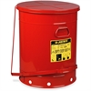 "Justrite 21-Gallon Oily Waste Can - 21 gal Capacity - Round - Foot Pedal, Rugged, Rust Resistant, Durable, Powder Coated, Chemical Resistant, Moisture Resistant - 23.5"" Height x 18.4"" Diameter - Steel"