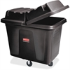 "Rubbermaid Commercial 400-lb Cap. Cube Truck - Durable, Wheels, Chemical Resistant - 33"" Height x 28"" Width - Metal, High-density Polyethylene (HDPE) - Black"