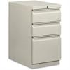 "Basyx by HON Light Gray B/B/F Mobile Pedestal File - 15"" x 20"" x 28"" - 3 x File Drawer(s), Box Drawer(s) - Single Pedestal - Material: Steel Frame - Finish: Light Gray"