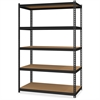 """Hirsh 2,300 lb Capacity Iron Horse Shelving - 5 Compartment(s) - 72"""" Height x 48"""" Width x 24"""" Depth - Recycled - Black - Steel, Particleboard - 1Each"""