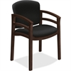 "HON 2112 Mahogany Base Double Rail Guest Chair - Polymer Seat - Hardwood Frame - Four-legged Base - Black - 20"" Seat Width x 17"" Seat Depth - 23.5"" Width x 22"" Depth x 33.1"" Height"