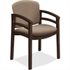 "HON 2112 Mahogany Base Double Rail Guest Chair - Polymer Seat - Hardwood Frame - Four-legged Base - Morel - 20"" Seat Width x 17"" Seat Depth - 23.5"" Width x 22"" Depth x 33.1"" Height"