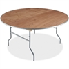 "Iceberg Natural Plywood Round Folding Table - Round Top - Folding Base - 0.75"" Table Top Thickness x 60"" Table Top Diameter - 29"" Height - Natural"