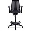 "Lorell Posture Lock Mesh Back Stool - Fabric Seat - Plastic Black Frame - 5-star Base - Black - 19.10"" Seat Width x 20.10"" Seat Depth - 26.6"" Width x 25"" Depth x 51"" Height"