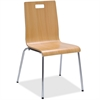 "Lorell Bentwood Cafe Chair - Steel Frame - Natural - Plywood, Bentwood - 21"" Width x 20.5"" Depth x 34"" Height"