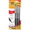 BIC Atlantis Ballpoint Pen - Bold Point Type - 1.6 mm Point Size - Refillable - Black Oil Based Ink - Black Barrel - 3 / Pack