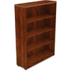 "Lorell Chateau Bookshelf - Top, 36"" x 12.5"" x 50"" - 4 Shelve(s) - Reeded Edge - Finish: Cherry Laminate Surface"