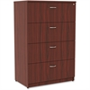 "Lorell Essentials Lateral File - Top, 35.5"" x 22"" x 54.8"" - 4 x File Drawer(s) - Material: Polyvinyl Chloride (PVC) Edge - Finish: Mahogany Laminate"