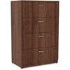 """Lorell Essentials Lateral File - Top, 35.5"""" x 22"""" x 54.8"""" - 4 x File Drawer(s) - Material: Polyvinyl Chloride (PVC) Edge - Finish: Walnut Laminate"""