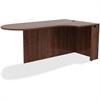 "Lorell Peninsula Desk - 72"" x 42"" x 29.5"", Edge - Material: Metal, Polyvinyl Chloride (PVC) Edge - Finish: Walnut Laminate"