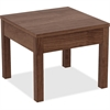 "Lorell Corner Table - Square Top - 24"" Table Top Width x 24"" Table Top Depth x 1"" Table Top Thickness - 20"" Height - Assembly Required - Walnut"