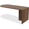 "Lorell Peninsula Desk - 29.5"" x 71"" x 66"", Edge - Reeded Edge - Material: Metal, Polyvinyl Chloride (PVC) Edge - Finish: Walnut, Laminate"