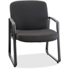"Lorell Big and Tall Fabric-Upholstered Guest Chair - Plywood Black, Fabric Seat - Plywood Black, Fabric Back - Metal Powder Coated Frame - Sled Base - 26.3"" Width x 27.3"" Depth x 35"" Height"
