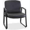 "Lorell Big and Tall Leather Guest Chair - Leather, Plywood Seat - Leather, Plywood Back - Metal Powder Coated Frame - Sled Base - Black - 26.5"" Width x 27.3"" Depth x 35"" Height"