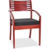 "Lorell Guest Chair - Fabric Black Seat - Solid Wood Frame - Four-legged Base - Cherry - 23.3"" Width x 24.8"" Depth x 34"" Height"