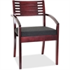 "Lorell Guest Chair - Fabric Black Seat - Solid Wood Frame - Four-legged Base - Mahogany - 23.3"" Width x 23.8"" Depth x 34"" Height"