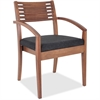 "Lorell Guest Chair - Fabric Black Seat - Solid Wood Frame - Four-legged Base - Walnut - 23.3"" Width x 23.8"" Depth x 34"" Height"