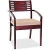 "Lorell Guest Chair - Fabric Beige Seat - Solid Wood Frame - Four-legged Base - Mahogany - 23.3"" Width x 24.8"" Depth x 34"" Height"