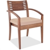 "Lorell Guest Chair - Fabric Beige Seat - Solid Wood Frame - Four-legged Base - Walnut - 23.3"" Width x 23.8"" Depth x 34"" Height"
