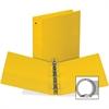 "Samsill Value Ring Binder - 2"" Binder Capacity - Round Ring Fastener - Inside Front & Back Pocket(s) - Board, Vinyl - Yellow"