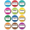 Ashley Dotted Border Months Die-cut Magnets - Dotted - Die-cut, Write on/Wipe off - Multicolor - 1 Set