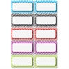 Ashley Chevron Border Die-cut Nameplates - 10 Rectangle - Magnetic - Chevron - Write on/Wipe off, Die-cut - Multicolor - 1 Pack