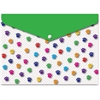 Ashley Pawprints Design Snap Poly Folders - Poly - Multi-colored - 6 / Pack