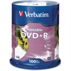Verbatim DVD+R 4.7GB 16X White Inkjet Printable - 100pk Spindle - 120mm - Printable