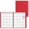 "At-A-Glance Fashion Desk Monthly Planner - Monthly - 1 Year - January 2017 till December 2017 - 1 Month Double Page Layout - 6.88"" x 8.75"" - Wire Bound - Red - Leather - Perforated, Memo Section, Phon"