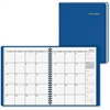 "Fashion Desk Monthly Planner - Monthly - 1 Year - January 2017 till December 2017 - 1 Month Double Page Layout - 6.87"" x 8.75"" - Wire Bound - Blue - Leather - Perforated, Memo Section, Add"