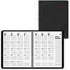 "At-A-Glance 800-Range Monthly Planner - Julian - Monthly - 1.2 Year - December 2016 till January 2018 - 1 Month Double Page Layout - 9"" x 11"" - Wire Bound - Black - Leather - Non-refillable, Notepad,"