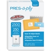 "PRES-a-ply Shipping Label - Permanent Adhesive - 2"" Width x 4"" Length - Rectangle - Laser - White - 2500 / Box"