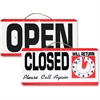 "Advantus Open/Closed Sign With Clock - 1 Each - Open/Closed, Please Call Again, Will Return Print/Message - 11.5"" Width x 6"" Height - Weather Resistant - Plastic - Red, White, Black"