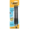 BIC Velocity Gel Retractable Pen - Medium Point Type - 0.7 mm Point Size - Refillable - Black Gel-based Ink - Translucent Barrel - 2 / Pack